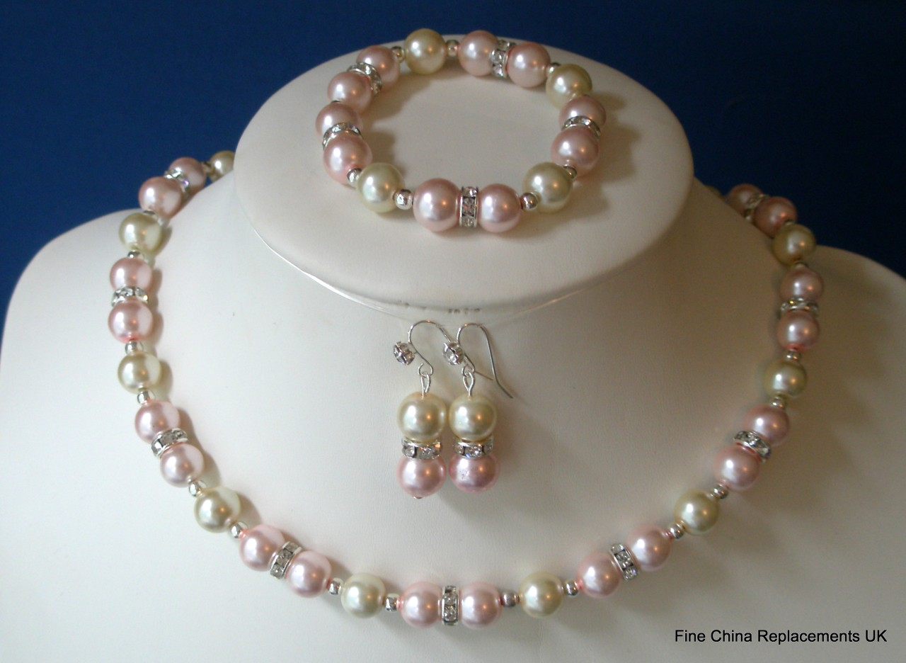 bracelet and earrings sets two toneglass faux pearl rhinestone necklace bracelet 719