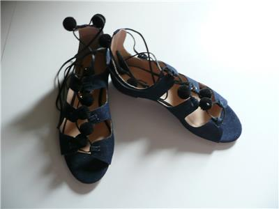 1c1c82499c85 J Crew Denim Caged Gladiator Sandals with Pom-poms Size 8  198 missing 1 pom  pom