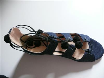 6f5d37ac1e26 J Crew Denim Caged Gladiator Sandals with Pom-poms Size 8  198 ...