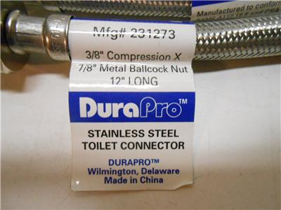 """20/"""" Lot of 25 DuraPro Stainless Steel Faucet Connectors 3//8/"""" x 1//2/"""" Bathroom"""