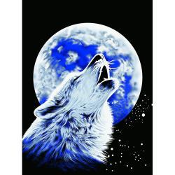 Queen Size Super Plush Full Moon Howling Wolf Mink Style Blanket Cover