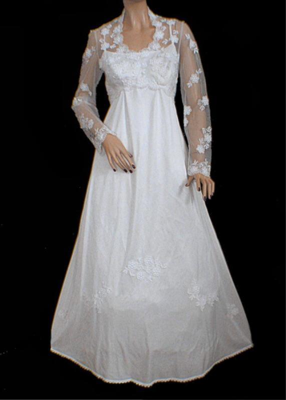 Vtg 80s Ivory with White Crochet Lace Tatting Wedding Dress M Empire Waist
