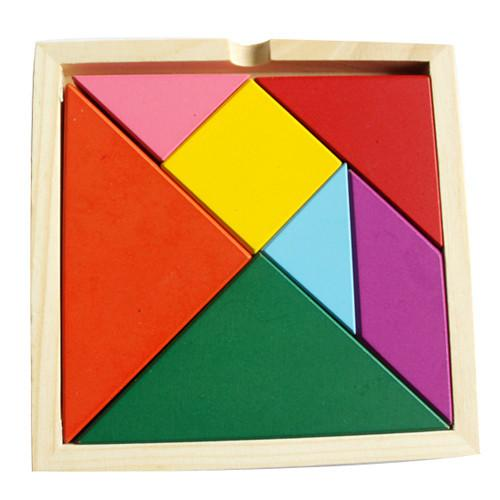 Baby Toy 7 Parts Wooden Geometry Puzzle Brain Training Rainbow Tangram Jigsaws
