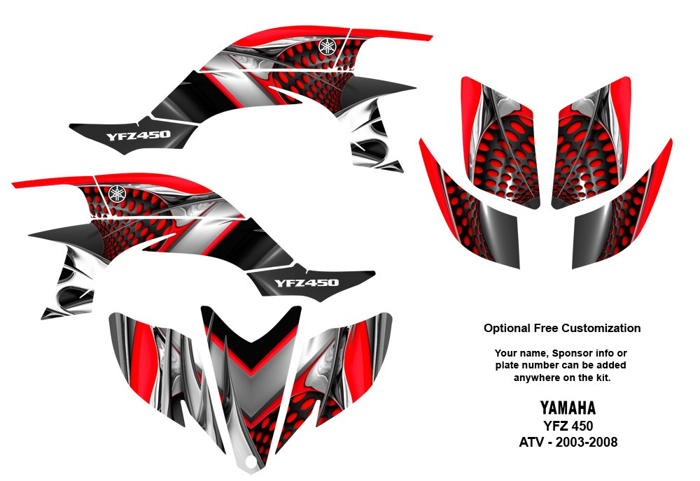 Yamaha YFZ450 ATV Graphic Decal Sticker Kit 7777 Red