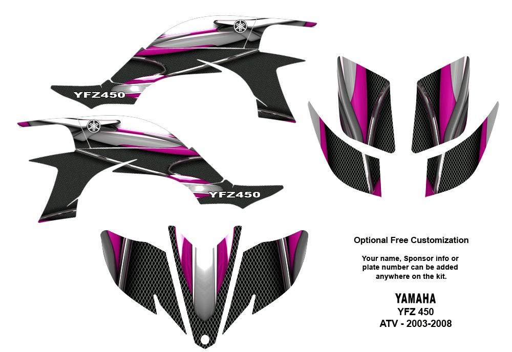YAMAHA YFZ450 Atv Graphic Decal Sticker Kit #5600 Hot Pink