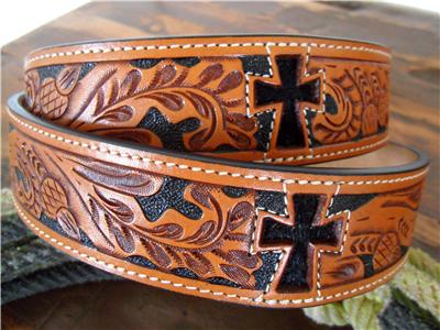 3d Western Mens Belt Leather Tooled Cross Hair On Inlay