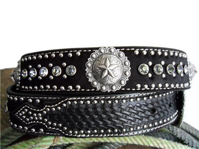 Nocona Western Mens Belt Leather Star Concho Calf Hair Black N2465801