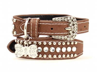 M Amp F Western Dog Collar Crystal Rhinestone Brown 9300802 Ebay