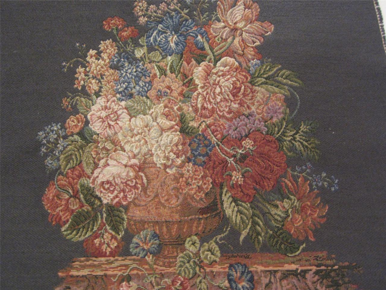 Tapestry Woven Italy Basket Of Flowers Floral Gray Chair