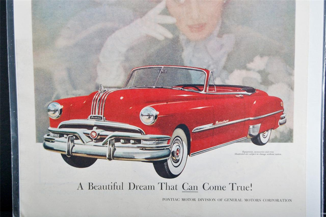 Car Ad Vintage Automobile Auto SEP Pontiac Red Convertible 1951 ...