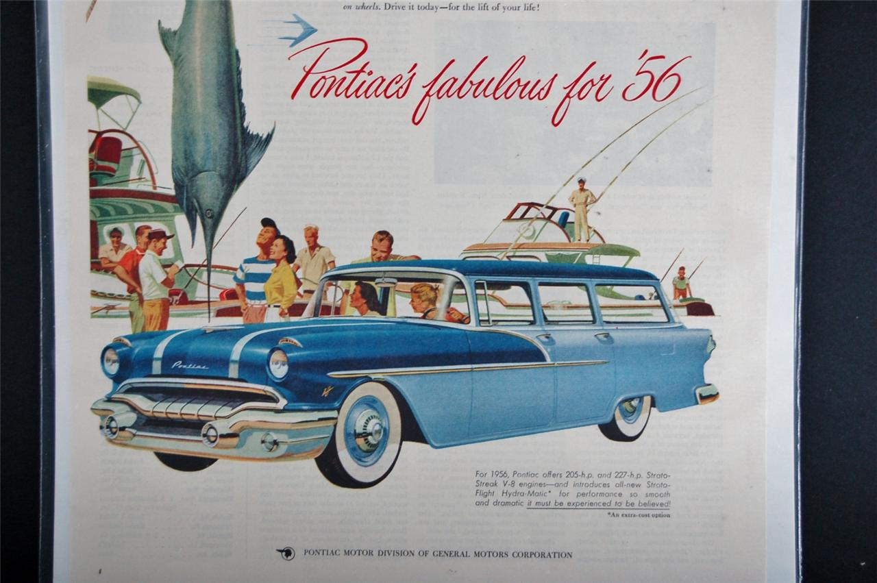 Car Ad Vintage Automobile Auto SEP Pontiac 1956 Swordfish Station ...