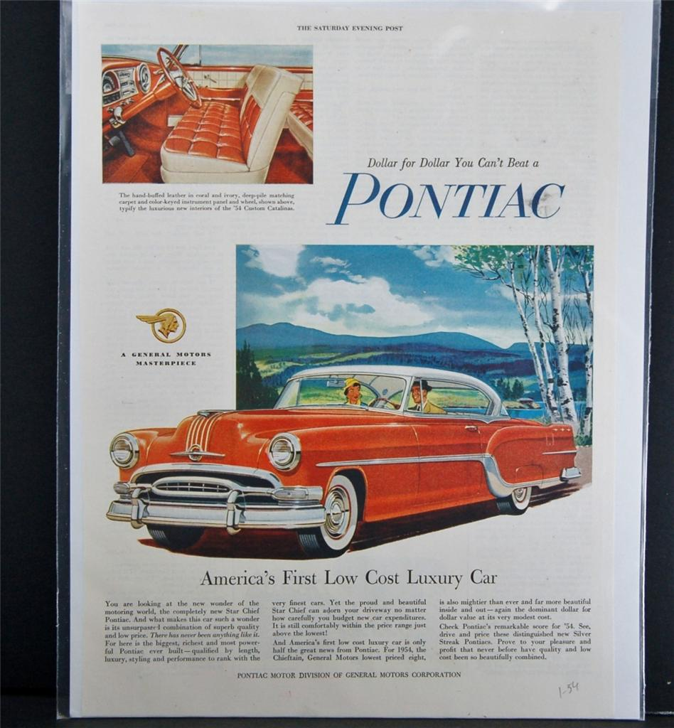 Car Ad Vintage Automobile Auto Sep Pontiac 1954 Star Chief Red Sedan Catalina