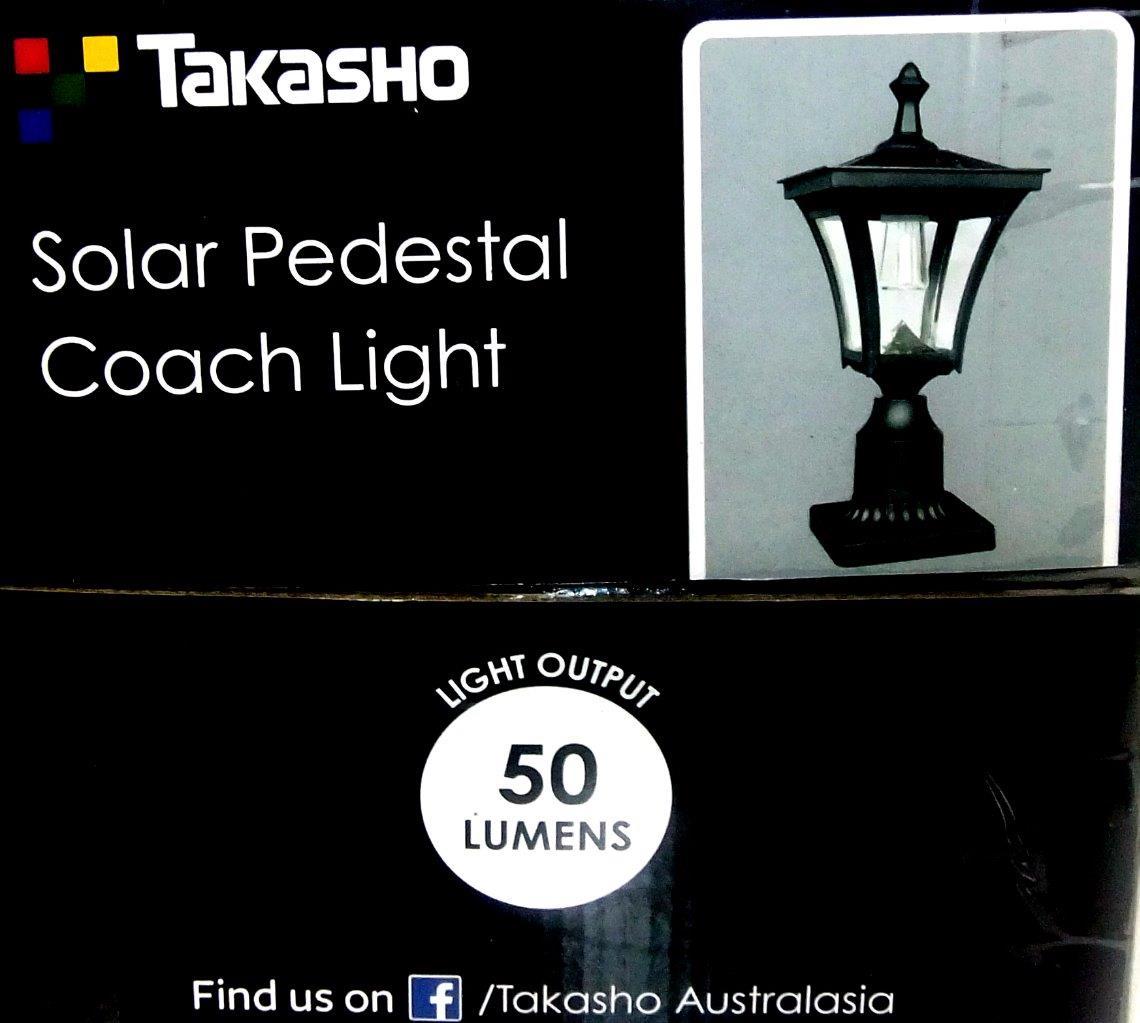 Pp09 Solar Coach Lantern Pillar Column Pedestal: Rustic Black Solar Powered Pedestal Coach Light 50 Lumens