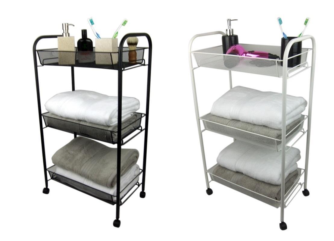 3 Tier Bathroom Storage Trolley Toiletry Linen Cart Metal