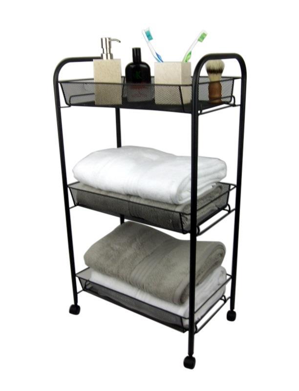 3 tier bathroom storage trolley toiletry linen cart black - Bathroom storage cart with wheels ...