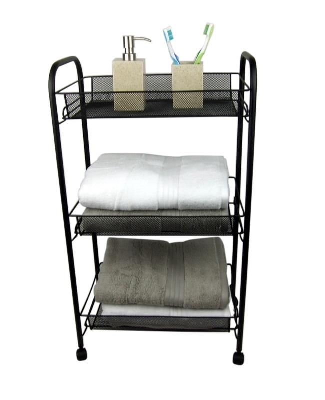 Three Tier Bathroom Stand: 3 Tier Bathroom Storage Trolley Toiletry Linen Cart Black