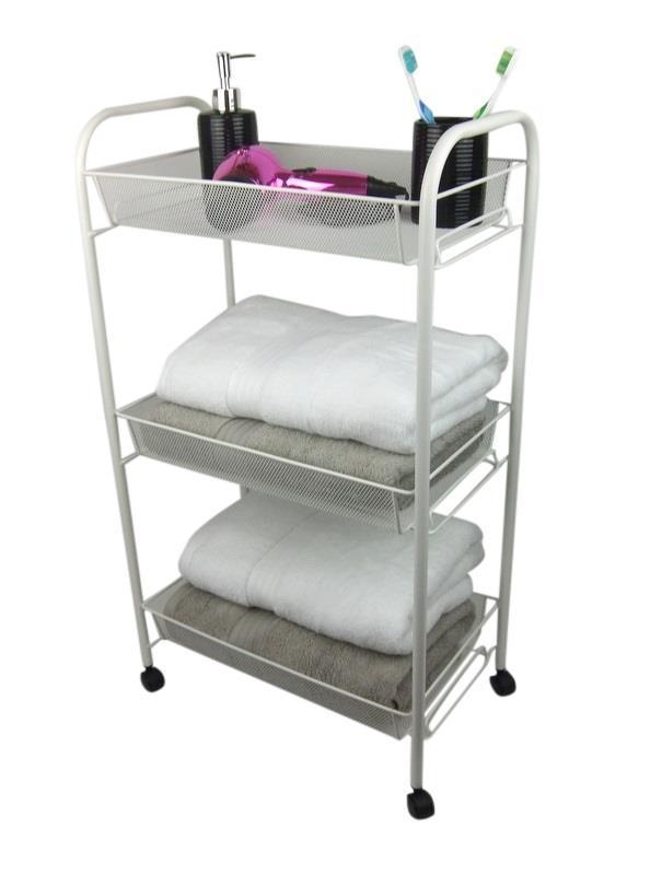 White Bathroom Storage Trolley 3 Tier Toiletry Linen Cart