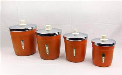 orange storage jars kitchen retro kitchen canisters set of four orange vintage 3766