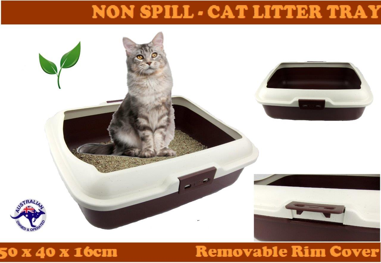 Cat Litter Box Tray With Rim Non Spill Portable Kitten