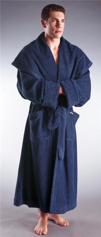 mens hooded long terry cotton monk bathrobe robe ebay. Black Bedroom Furniture Sets. Home Design Ideas