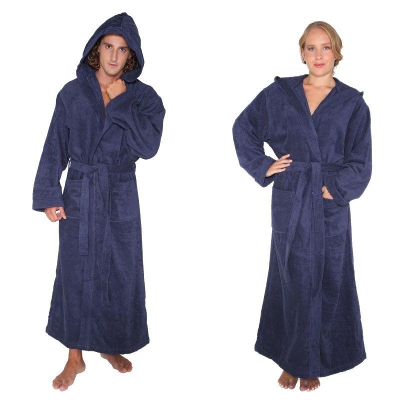 Mens Womens Turkish Cotton Terry Light Weight Hooded Long Bathrobe ...