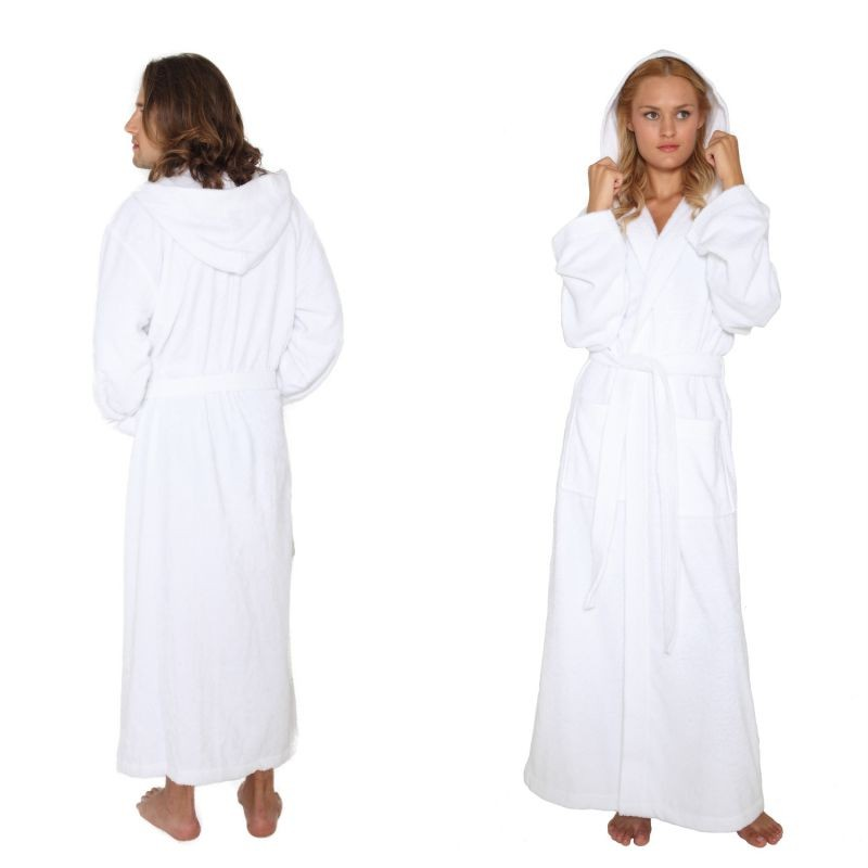 hooded bathrobe mens womens turkish cotton terry long full ankle length robe ebay. Black Bedroom Furniture Sets. Home Design Ideas