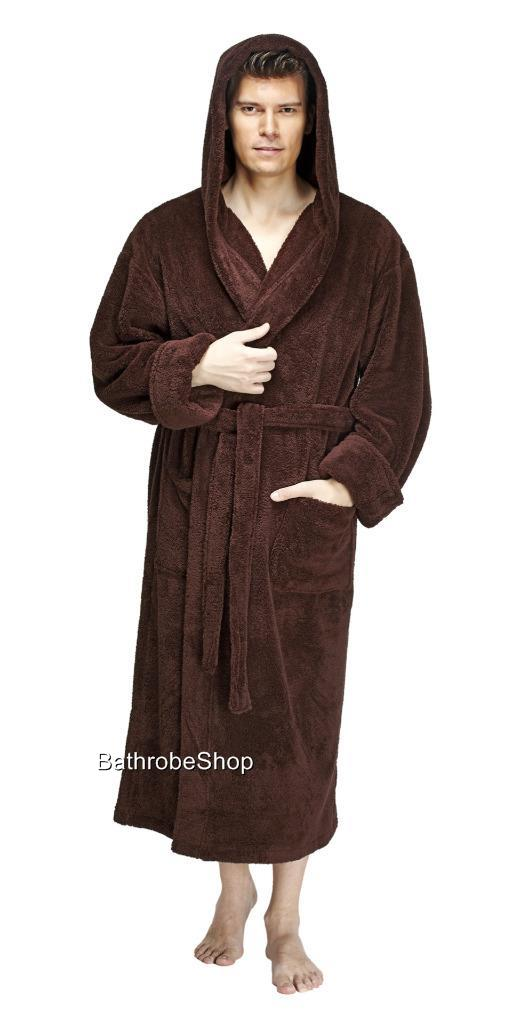 arus men 39 s hooded fleece bathrobe turkish robe made in turkey ebay. Black Bedroom Furniture Sets. Home Design Ideas