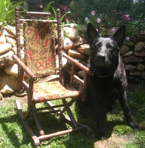 Antique Vintage Child Doll Bear Rocking Chair Carpet