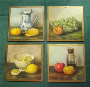 Set 4 Hank Bay Still Life Fruit Prints Wall Hanging Home