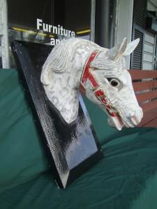 Old Circus Folk Art Butcher Carousel Horse Head Wooden
