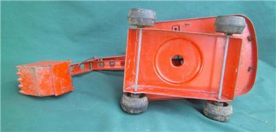 Vintage Louis Marx Lumar Pressed Steel Orange Construction Crane Shovel Toy