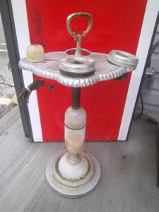 Vtg Art Deco Lighted Smoking Stand Mico Lighter Ashtray Slag Glass Parts Repair