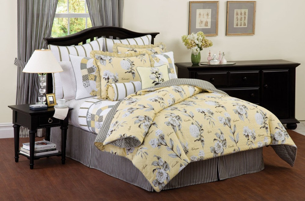 Black And Yellow Comforter Queen: Richfield Yellow & Black Bedding--Quilt-Comforter-More