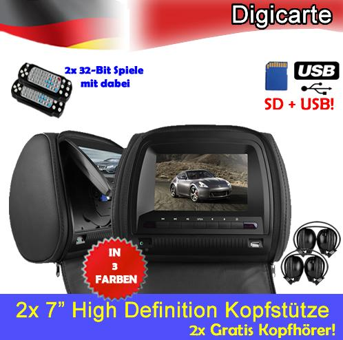 2x 7 high definition auto kopfst tze dvd player monitor. Black Bedroom Furniture Sets. Home Design Ideas