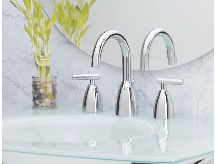 7 Faucet Finishes For Fabulous Bathrooms: Price Pfister T49-NC00 2 Handle Widespread Bathroom Faucet
