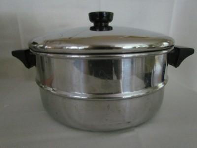 Vintage Revere Ware 8 Qt Stock Pot With Steamer Strainer