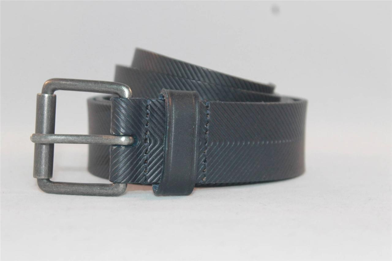 New Armani Exchange AX Mens Leather Pinstripe Dress Belt ...