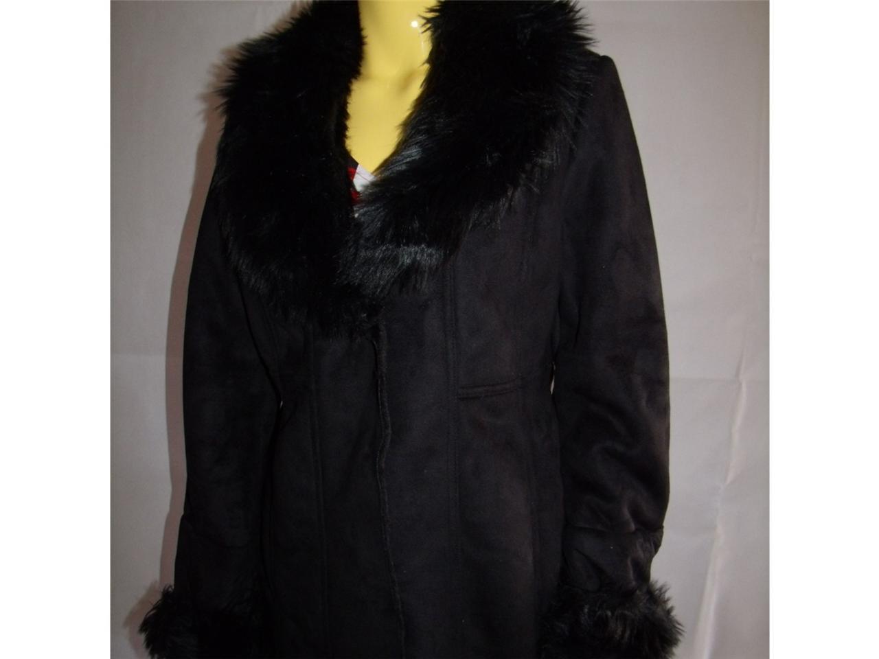 New Womens Ladies Winter Coat Black Faux Fur Collar Suede