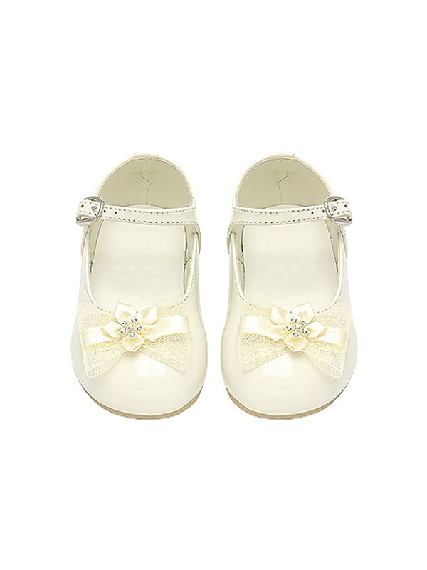 Ivory Flowered Ribbon Accent Baby Flower Girl Shoes size 1 ...
