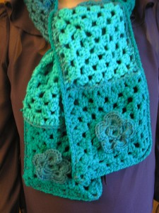 New Irish handmade crocheted granny square scarf from Ireland Handmade Scarves Ireland