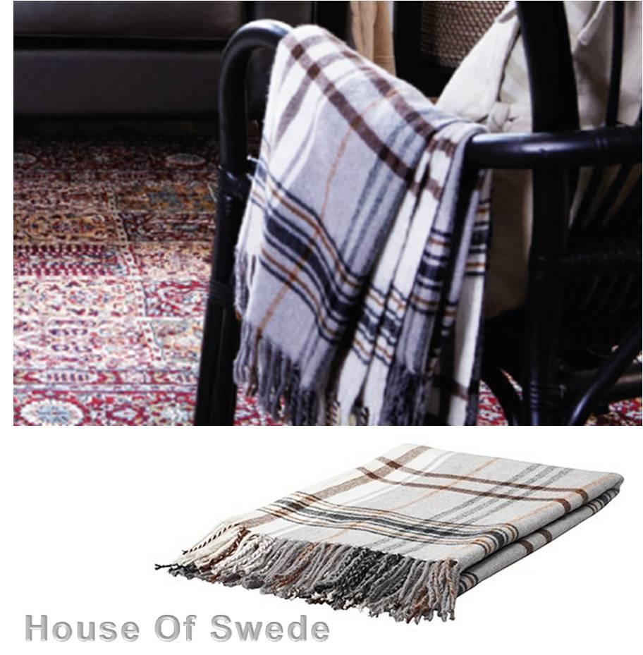 ikea throw rug plaid brown beige knee blanket bed couch sofa hermine 20 wool ebay. Black Bedroom Furniture Sets. Home Design Ideas