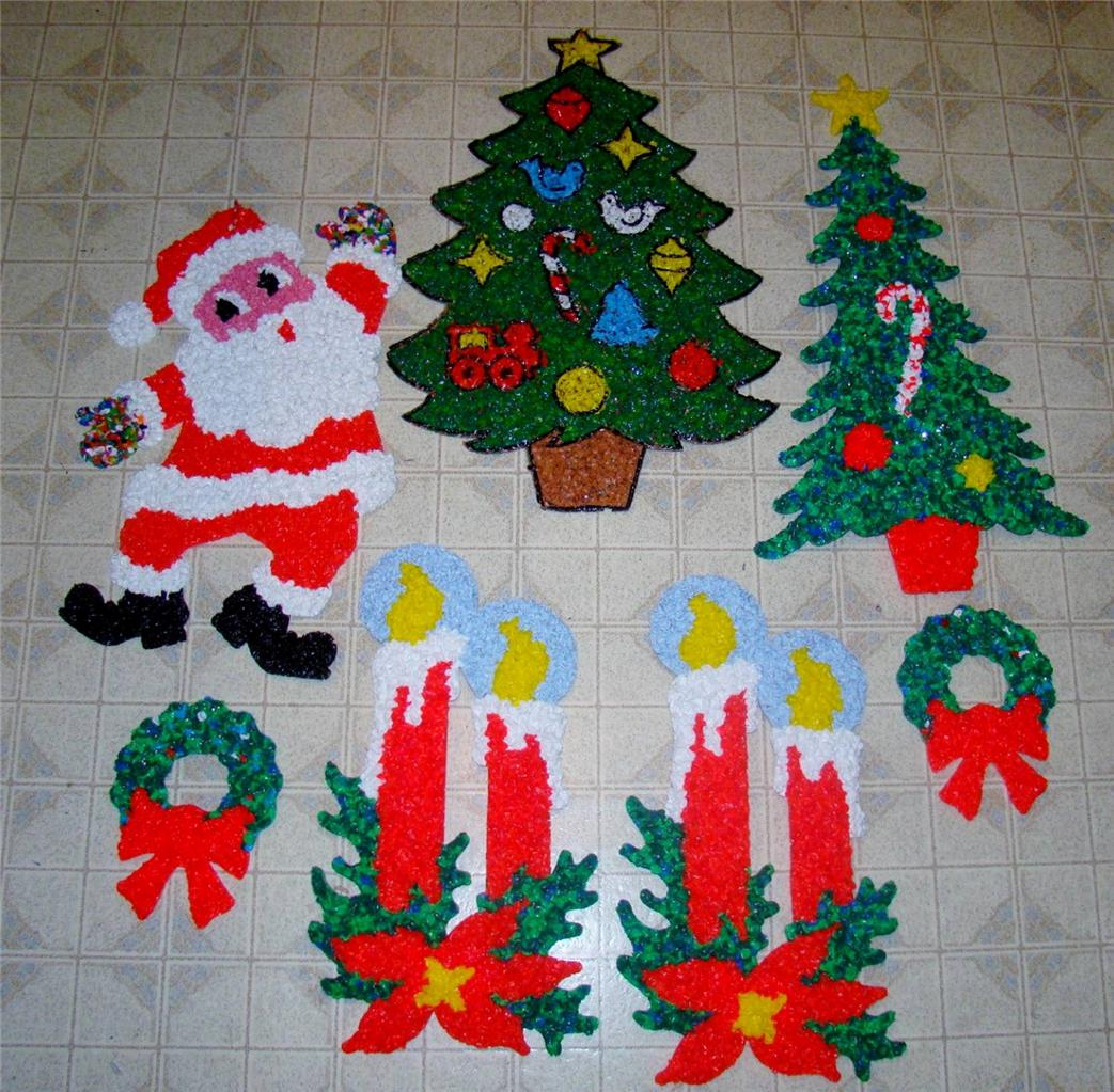 7 Vintage Melted Plastic Popcorn Christmas Decorations