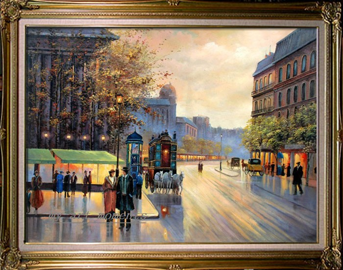 Hand Autumn in Paris Street Scene Art Oil Painting on Canvas 36x48