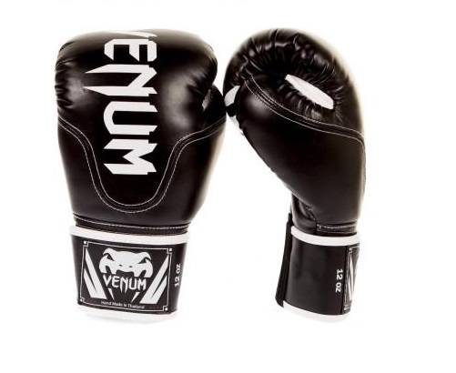 Venum Competitor Skintex Leather Boxing Gloves Black MMA ...