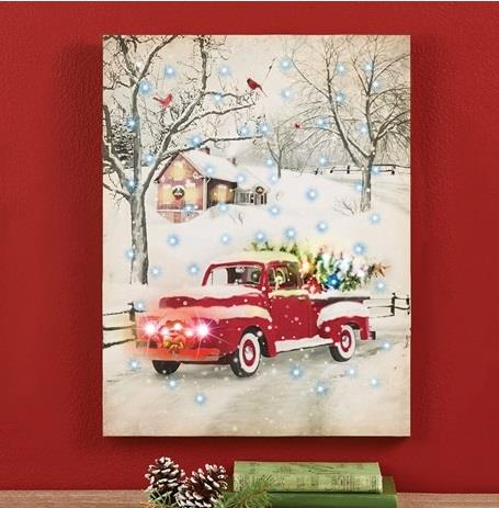 Old Red Truck With Christmas Tree In Back.Details About Lighted Christmas Tree Old Red Truck Wall Canvas Hanging Holiday Winter Decor