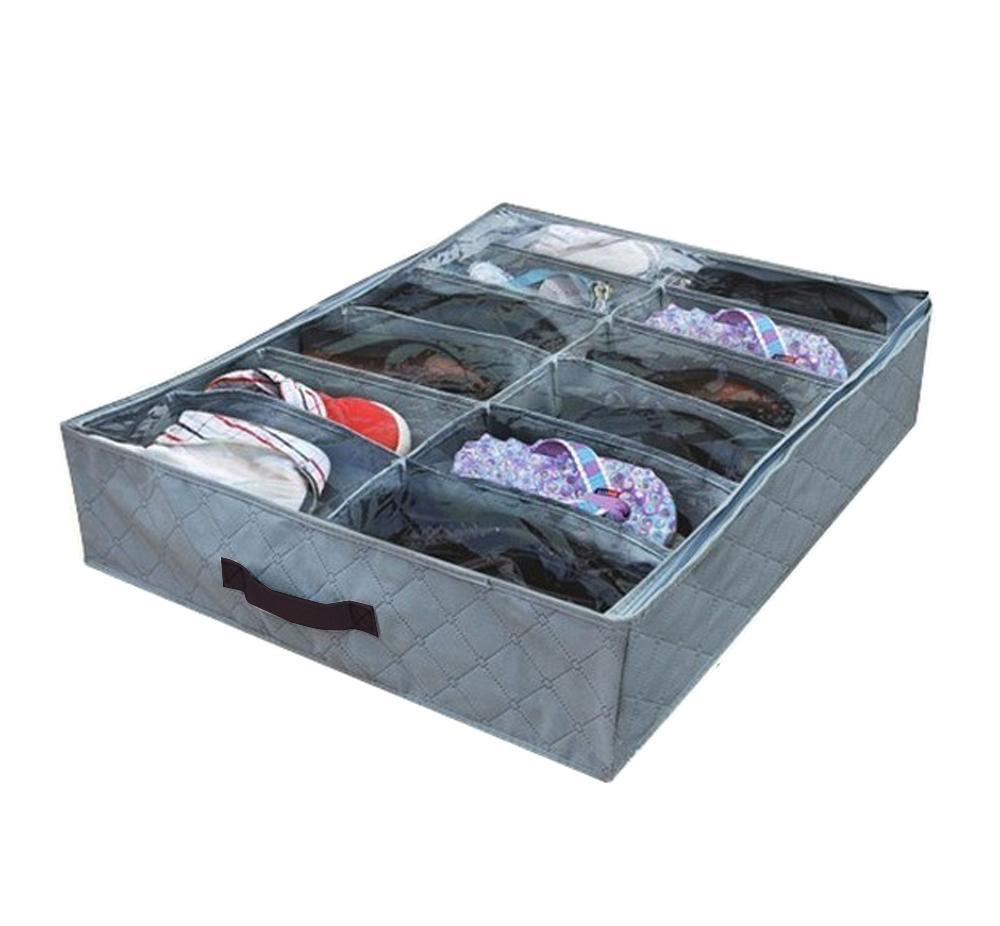 housse bo te rangement organisateur 12 paires pochettes chaussures sous lit ebay. Black Bedroom Furniture Sets. Home Design Ideas