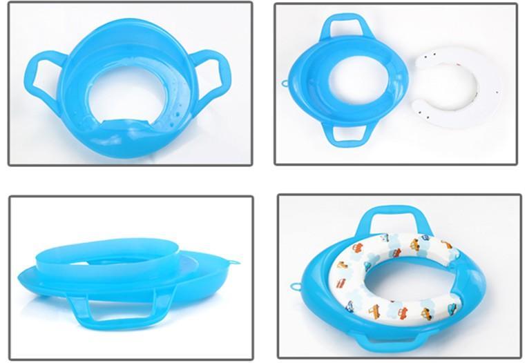 baby kinder komfort wc sitz mit griffen toiletten sitz trainer gepolstert ebay. Black Bedroom Furniture Sets. Home Design Ideas