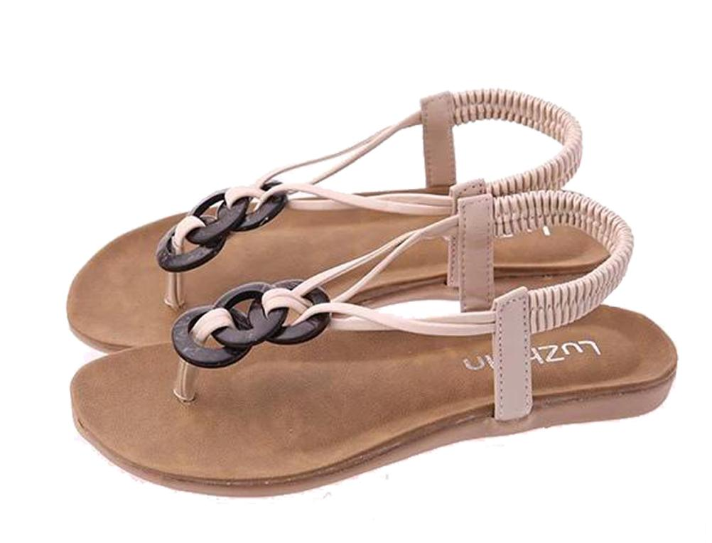 Woman Fashion Bohemian Clip Toe Flat Heel Sandals Shoes