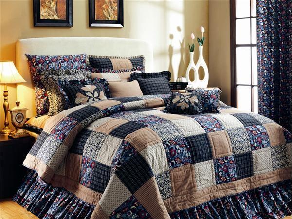 Victorian Heart Indigo 4pc King Set Bedding Quilt Bed