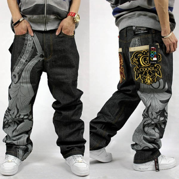 New Mens Hip Hop Coo gi Jeans Baggy Embroidery Loose Denim ...